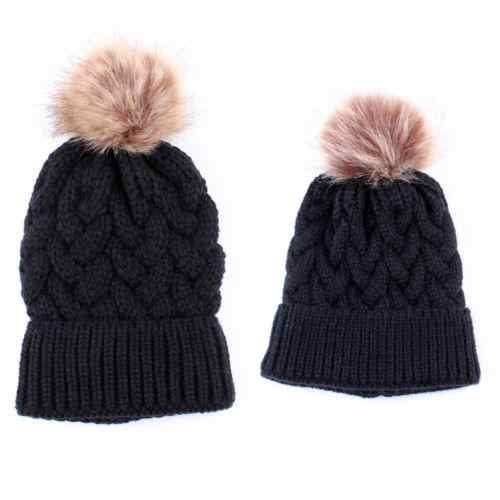 Mother Baby Kids Matching Knitting Wool Pom Bobble Hat Winter Warm Casual Beanie Cap