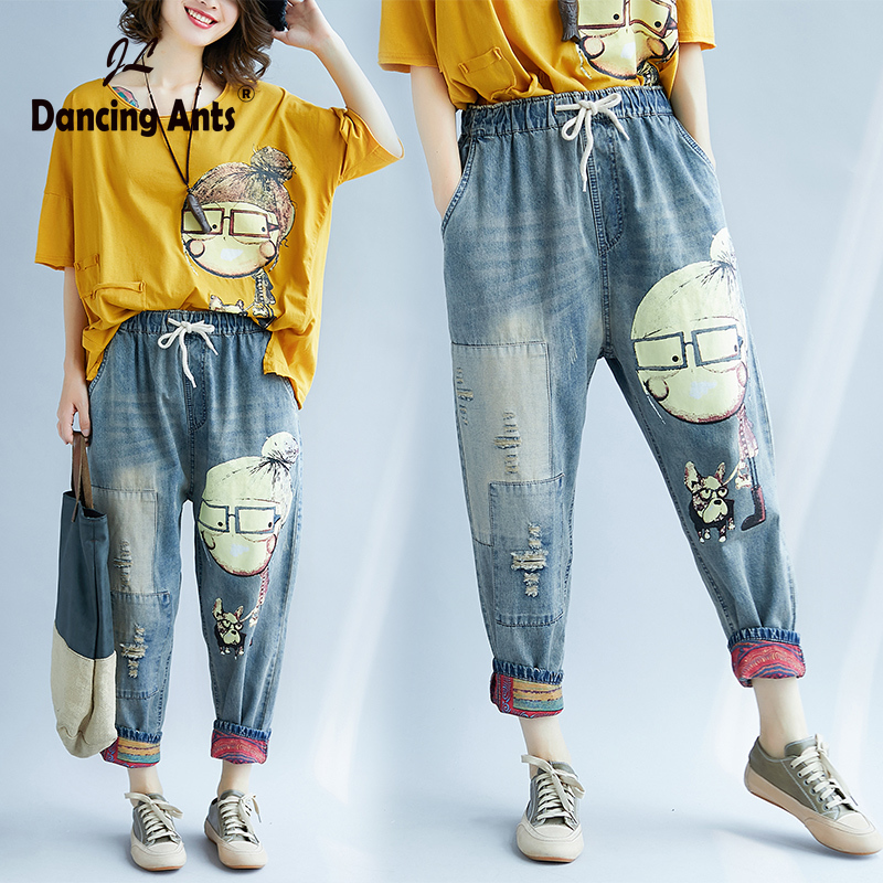 Women Spring Autumn Fashion Brand Vintage Cartoon Dog Little Girl Print Denim Jeans Female Casual Frayed Harem Pants Trousers