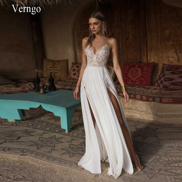 Verngo Boho Wedding Dress Sexy Side Slit Beach Wedding Dress V-Neck Bride Dress Spaghetti Straps Weeding Gowns Vestido De Noiva 1