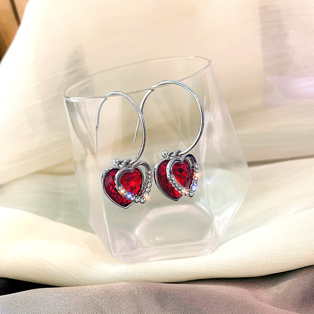 DREJEW Cute Red Blue Gold Love Heart Rhinestone Hoop Earrings Christmas Fashion Alloy Earrings for Women.jpg 640x640 - DREJEW Cute Red Blue Gold Love Heart Rhinestone Hoop Earrings Christmas Fashion Alloy Earrings for Women Wedding Party Jewerly