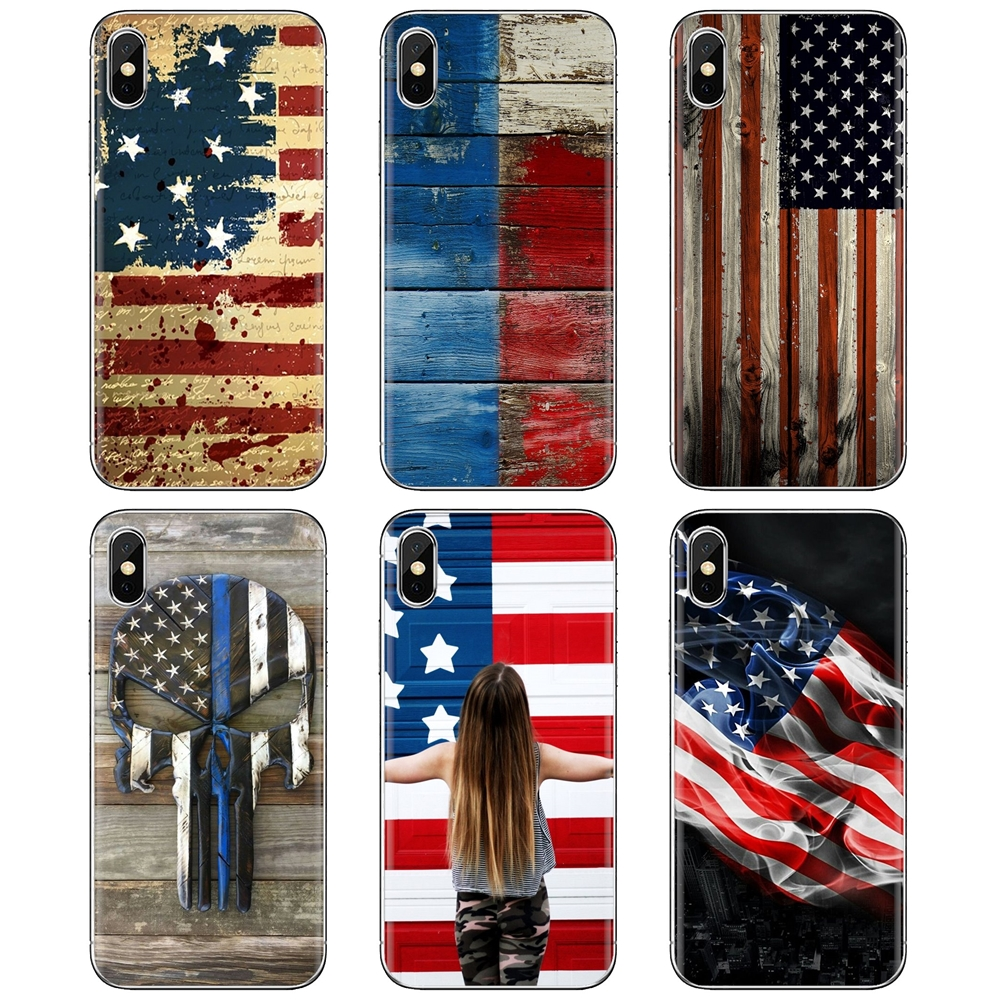 American flag wooden For iPhone 11 Pro 4 4S 5 5S SE 5C 6 6S 7 8 X 10 XR XS Plus Max For iPod Touch Buy Silicone Phone Case(China)