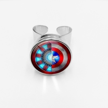 initial / Avengers Movie Series Snap Ring Iron Man Heart Shape and Captain America Shield Star Glass