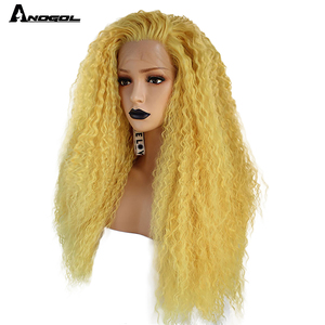 Image 3 - Anogol Yellow Synthetic Lace Front Wig Natural Long Kinky Curly Wig for Women Free Part High Temperature Fiber