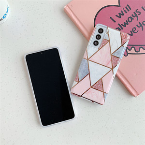 Image 3 - Telefoon Geval Voor Samsung Galaxy A51 A71 A31 A41 A50 A70 A20 A30 S21 S20 Fe S10 Note 20 Electroplated geometrische Marmer Back Cover