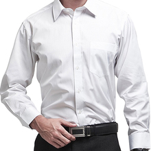 Men Business Formal Shirts Long Sleeve Male Chemise Dress Shirt Office Regular Brand High Quality Stripe Solid Color