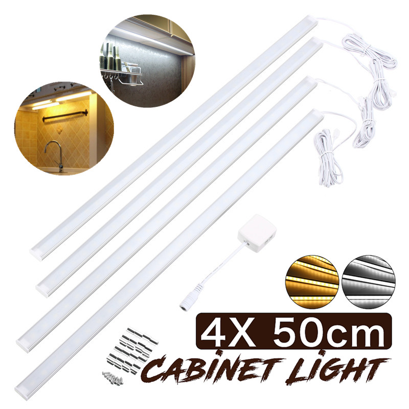 4Pcs 50CM LED Bar Lights for Kitchen Under Cabinet Counter 30Leds Lighting LED Showcase Rigid Strip Light White/Warm White