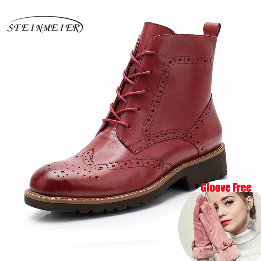 100% Genuine sheepskin Leather Ankle chelsea Boots yinzo ladies shoes Handmade red brown blue oxford shoes for women 2018 winter