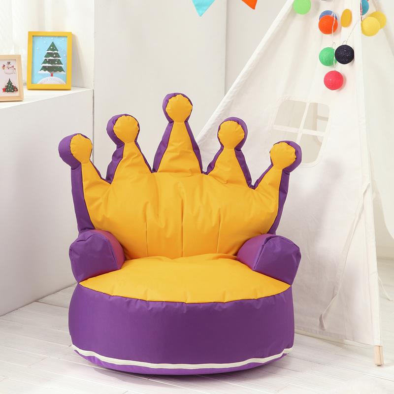 Baby Chair Sofa Kid Seat Crown Toddler Sofa Cover Children Bean Bag Lazy Sofa Without Filling Kids Sofa Cute Chair