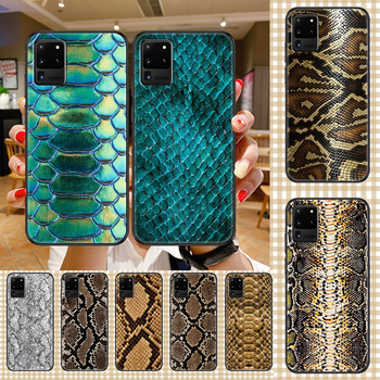 Fashion Leather Snake Skin Phone case For Samsung Galaxy Note 4 8 9 10 20 S8 S9 S10 S10E S20 Plus UITRA Ultra black soft image