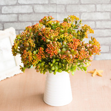 7 Branches Green Artificial Berry Flowers Bouquet Fake Fruit Plants Mini Leaf Florals Wedding Garden Home Decoration Accessories