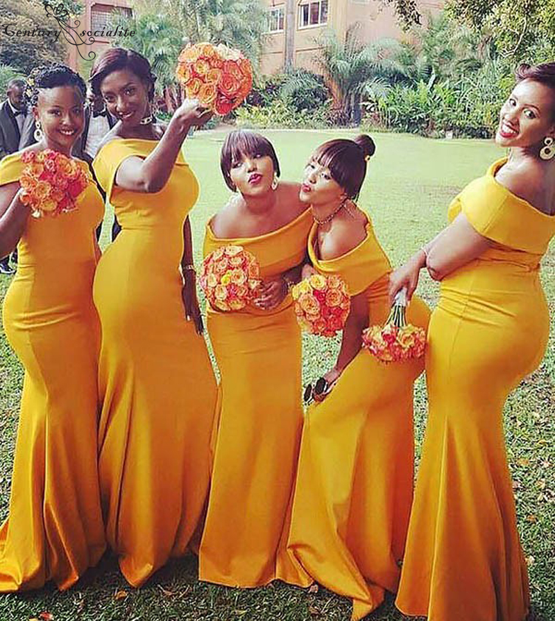 Yellow Mermaid Bridesmaid Dresses 2020 Off Shoulder Zipper Back Simple Long Dress Wedding Guest Maid Of Honor Gowns Cheap