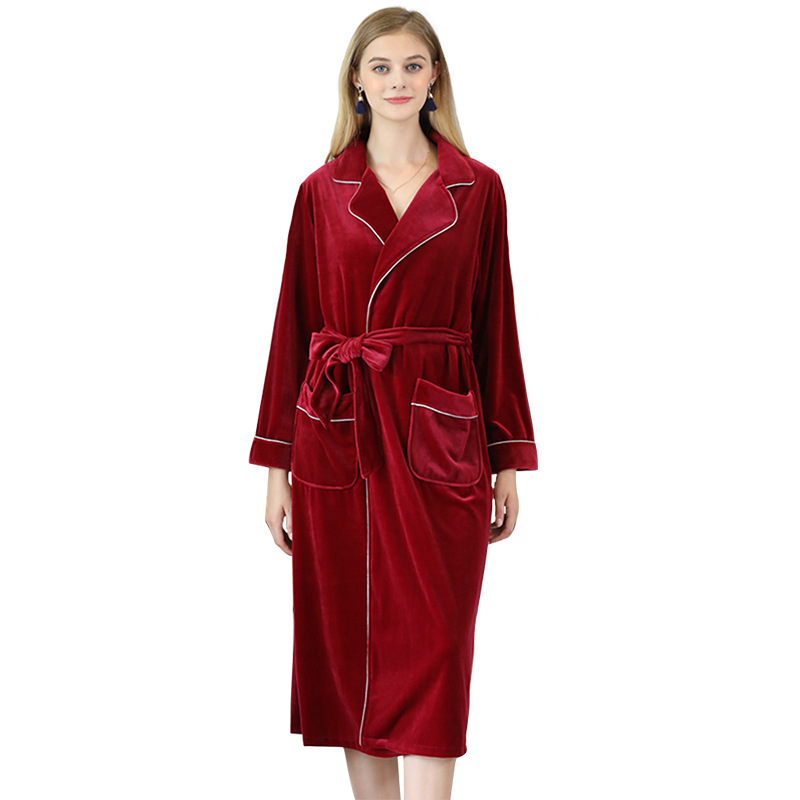 Women Winter Long Velour Sleeping Robe Long Sleeved Thick Warm Velvet Home Lounge With Sashes Unisex Night Robes