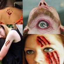 30 piezas pegatinas de tatuaje de Halloween a prueba de agua cara de vampiro tatuajes temporales falsos tatuajes FD