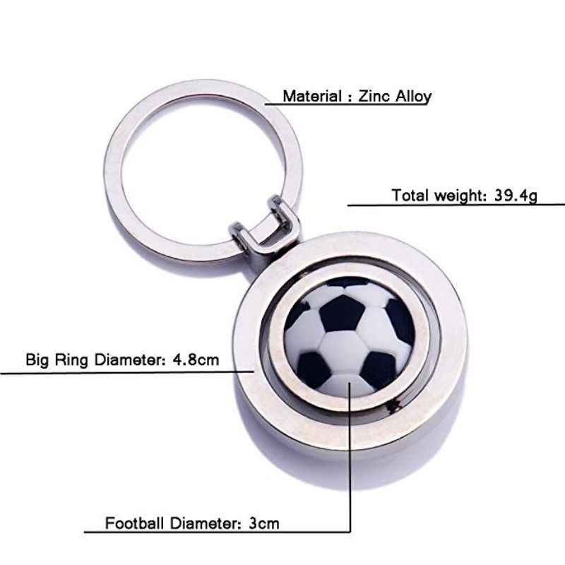 Keychain כדורסל/כדורגל צורת Rotatable מתכת תליון מפתח שרשרת טבעת קישוט