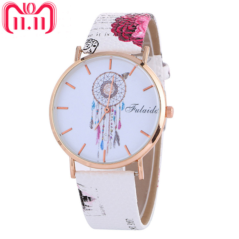 Fashion Women Watches Dreamcatcher Pattern Watch Colored Leather Band Analog Quartz Wrist Watch Luxury Dress Clock Reloj Mujer#C
