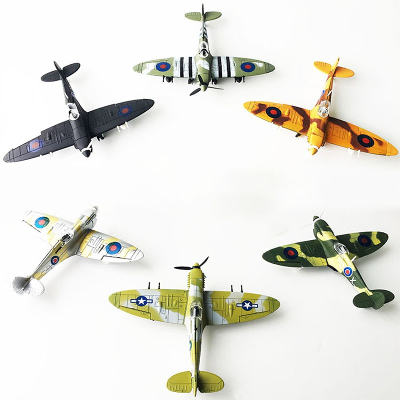 Kids Toys Boy Toys 4D Spitfire Intercept Fighter Painted Version 1:48 Military Assembled Model Aircraft Educational Toys