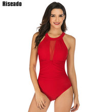 Riseado Sexy Halter One Piece Swimsuit Female Mesh Swimwear Women Summer Beach Wear Solid Bathing Suits 2019 New XXL