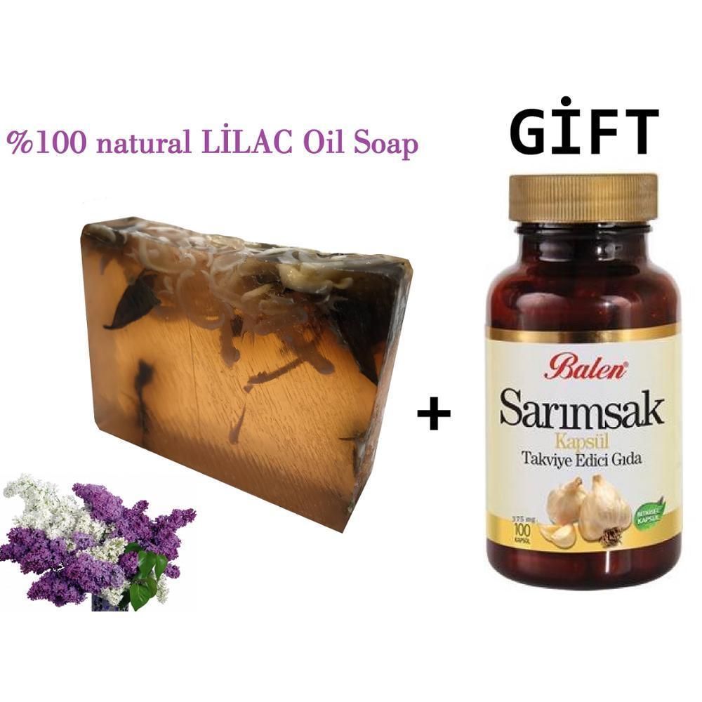 (gift Items)HANDMADE LILAC Essential Oil 100gr Soap+Gift Food Supplement Garlic 100 Capsules For Gastrointestinal Care Product
