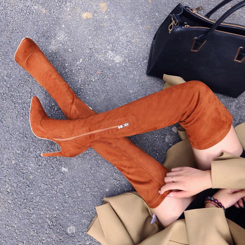Thon Gọn Đùi Cao Cấp Giày Mới Over-The-Đầu Gối Giày 2019 Giày Bốt Nữ Đầu Gối-Giày Cao Cổ Nữ Mùa Đông giày Ấm Nữ Giày Nữ Plus Size 43