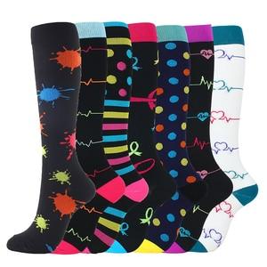 Image 3 - 7 זוגות\חבילה מעורב דחיסת גרביים Fit עבור ריצה יוניסקס אחיות טיסה נסיעות רגל לחץ לדחוס גרביים באיכות גבוהה