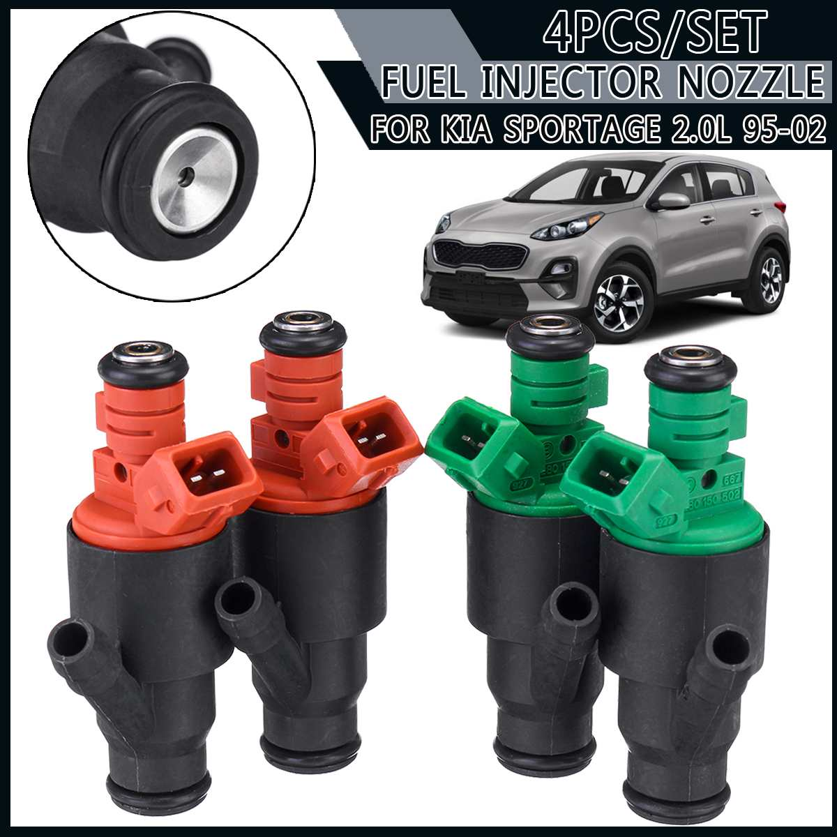 4 pieces Fuel Injector 95-02 For Kia Sportage 2.<font><b>0</b></font> <font><b>0</b></font> 280 <font><b>150</b></font> 504 <font><b>0</b></font> 280 <font><b>150</b></font> 502 two green 0280150502 and two orange 0280150504 image