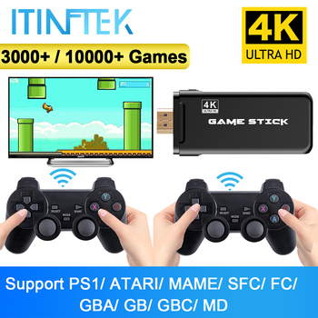 ITINFTEK Wireless Video Game Console 4K HD Display on TV Projector Monitor Classic Retro 10000 Games Double Controller Player 1