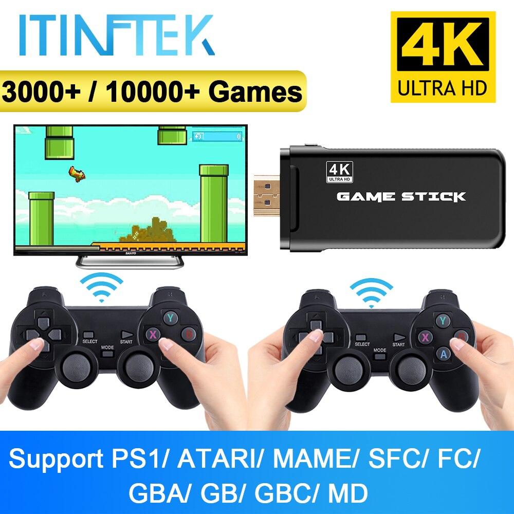 Itinftek console de jogos de vídeo sem fio 4k hd display na tv projetor monitor clássico retro 10000 jogos duplo controlador jogador