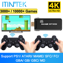ITINFTEK-وحدة تحكم ألعاب فيديو لاسلكية 4K HD ، جهاز عرض على التلفزيون ، شاشة كلاسيكية قديمة ، 10000 لعبة ، وحدة تحكم مزدوجة
