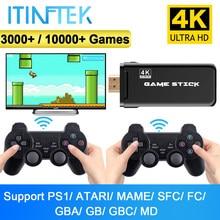 ITINFTEK sans fil Console de jeux vidéo 4K HD affichage sur TV projecteur moniteur classique rétro 10000 jeux Double contrôleur lecteur
