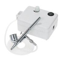 Mini compressor de ar conjunto dupla ação aerógrafo gravidade alimentação kit escova de ar para manicure artesanato bolo spray ferramenta prego conjunto ue pl