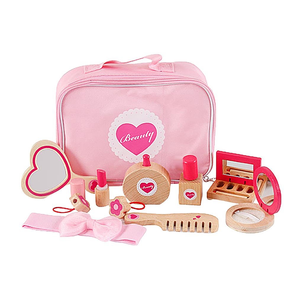 10-piece Set Simulation Wooden Portable Cosmetic Toy Set Girl Dress Up Cosmetic Bag Play House Toys Makeup Accessories
