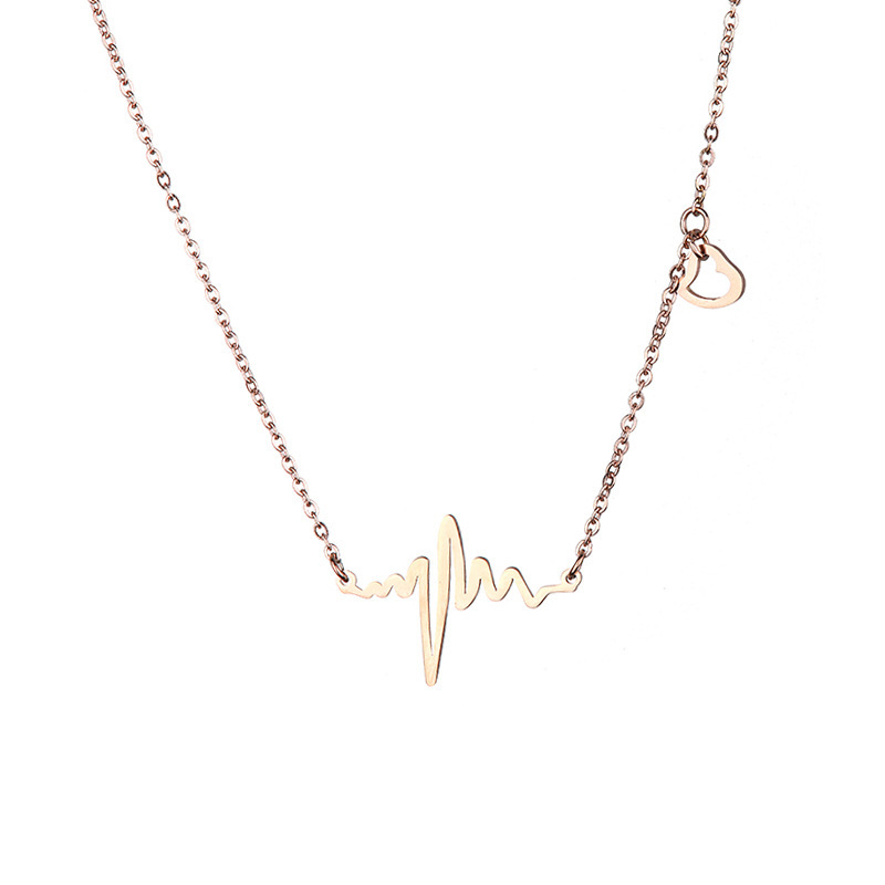 2019 Sale New Stainless Steel Trendy Collares Moana Kolye Heartbeat Necklace Women Wave Necklaces Lover Gifts