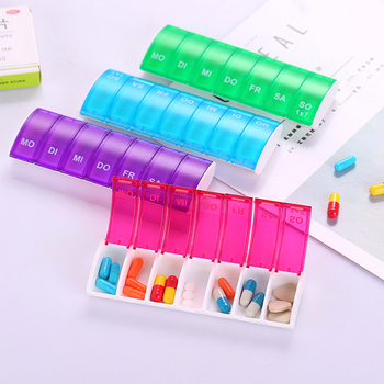 1PC 7 Days Weekly Tablet Pill Medicine Box Holder Storage Organizer Container Case Pill Box Splitters 4 Colors 7 grids portable weekly pill box storage case pill case container mini medicine organizer tablet dispenser splitters