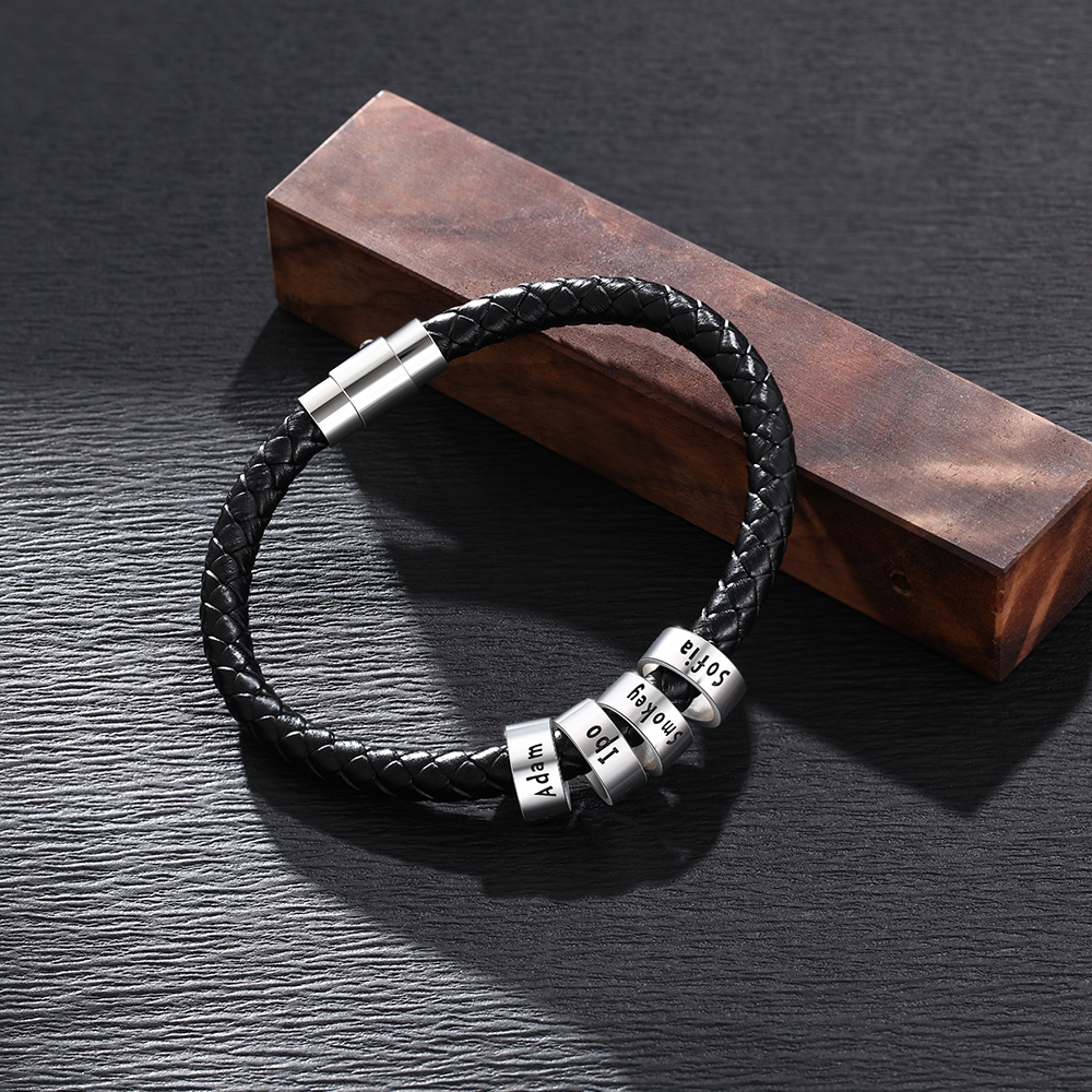 Personalized Men Leather Bracelet with 1-6 Names Beads Customized Family Names Black Rope Magentic Buckle Bracelets for Men