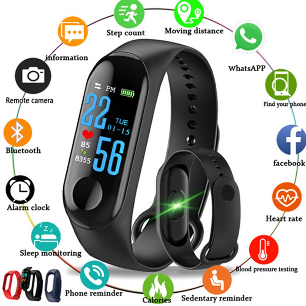 M3S OLED Color Screen Fitness Tracker IP67 Waterproof Smart Band Heart Rate Monitor Smart Bracelet Band Clock Men Watches