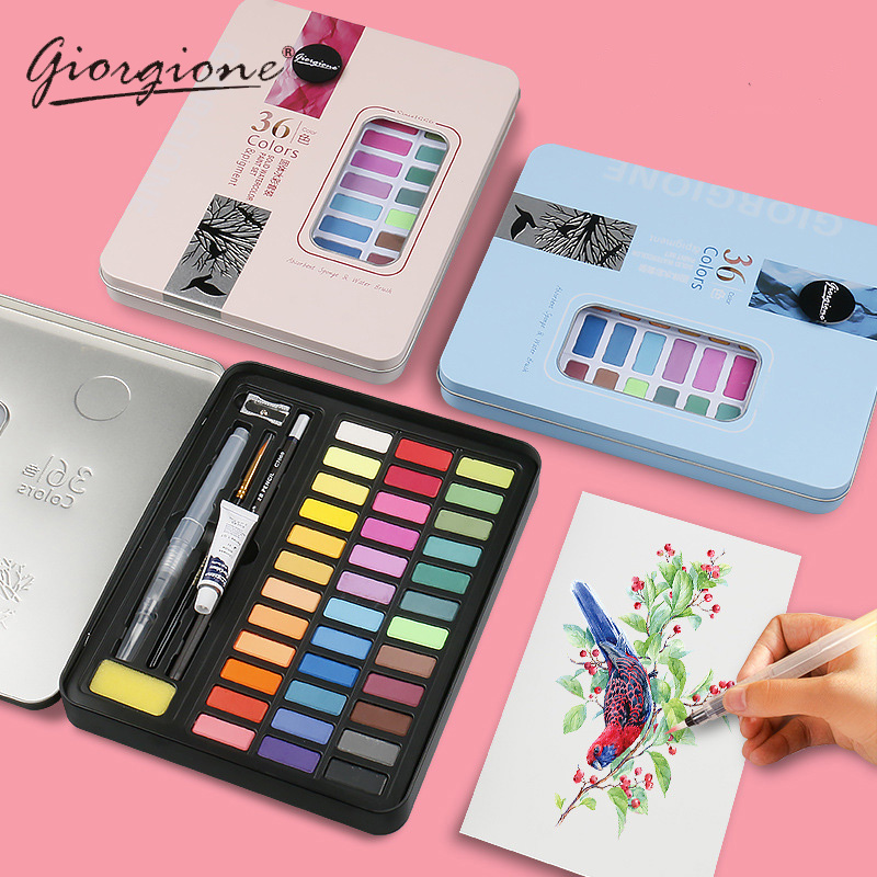 Giorgione 36 48 Colors Solid Water Color Paint Set Metal Iron Box Watercolor Painting Pocket Pigment For Drawing Art Supplies