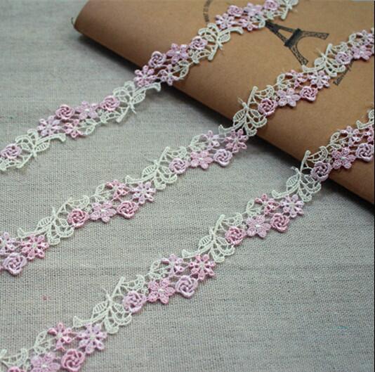 5 метров водорастворимый цветок кружева вышивка Venise кружевной отделкой розовый для свадебного платья костюм дизайн