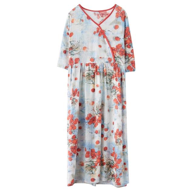 Half Sleeve Loose Summer Autumn Dress V-neck Sashes High Waist Women Dress Print Floral Vintage Dress Female Casual Midi Dress 4