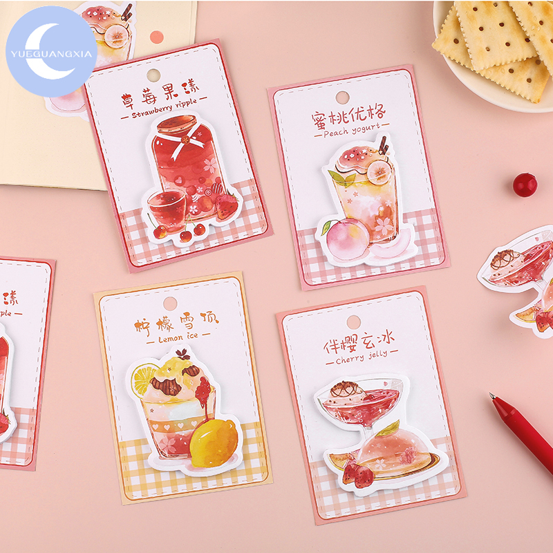 YueGuangXia 4 Designs Stickers Sweet Strawberry Peach Writing Paper Material Flowers Leaves Mushroom Plants Scrapbook Stickers