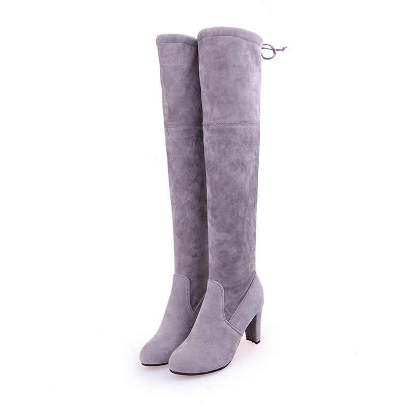 Big Size 35-43 Winter Over De Knie Laarzen Vrouwen Stretch Dij Hoge Sexy Vrouw Schoenen Lange Bota Feminina zapatos de mujer WSH3443