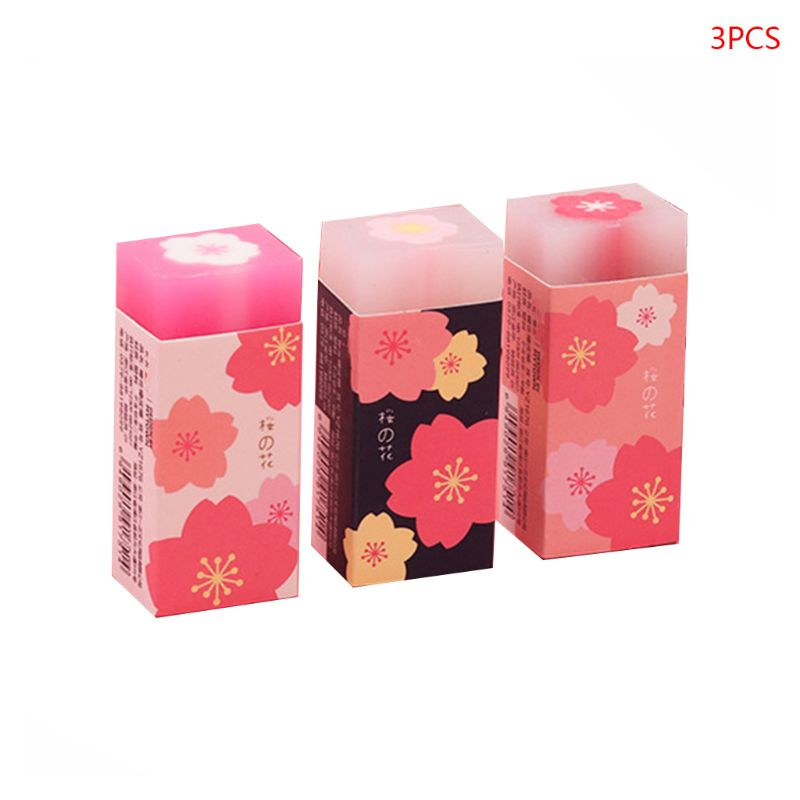 3 Pcs/set Lovely Cherry Blossoms Rubber Erasers Sakura Petal Sketch Painting Pencil Correction Tool School Office Stationery Sup