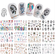 12 Designs Nail Slider Art Water Transfer Sticker Tattoo Dream Catcher Owl Feather Patterns Wraps Manicure Decals Tips BN901-912 12 designs nail art sticker decals water transfer cartoon unicorn designs colorful diy nail wraps tips manicure sabn637 648