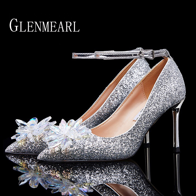 Women Wedding Shoes High Heels Cinderella Crystal Shoes Woman Pumps Rhinestone Pointed Toe Glitter Party Shoes Sliver Plus Size