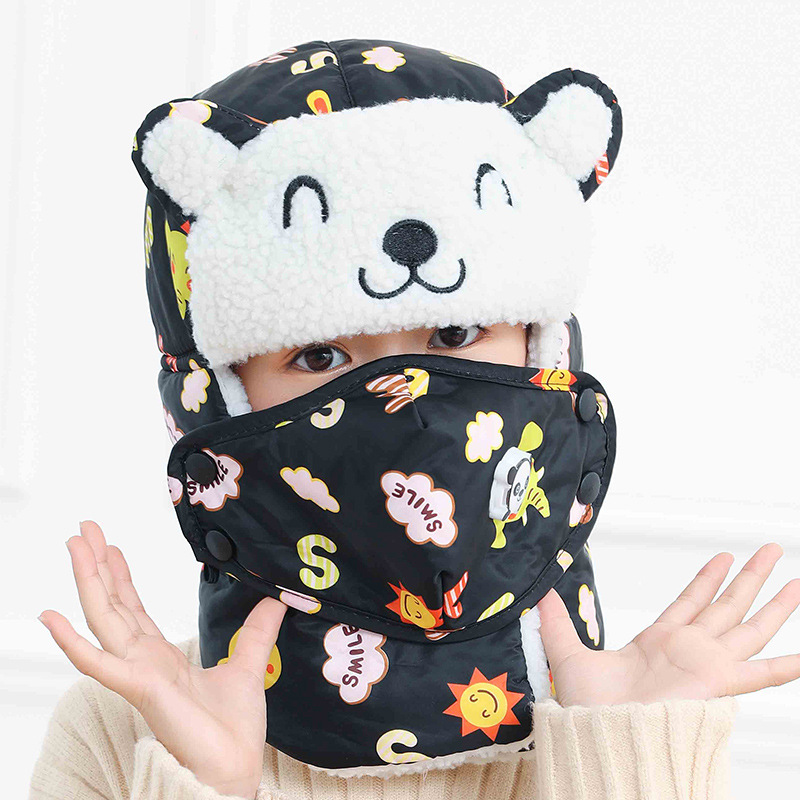 Cute Bear Face Bomber Hats For Kids Winter Hats Boys Girls Cap With Scarf Neck Cotton Snow Cap Cotton Earflaps Russian Hats Mask
