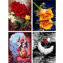 Scenery Daimond Painting Rose Flower Full drill Square 5d Diy Diamond Embroidery Sky Cartoon Cross-stitch Home Decor Gift A54 rose daimond painting girl flower full drill 5d diy diamond embroidery feather cross stitch rhinestone home decor art gift a27