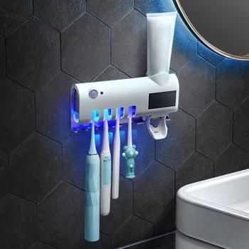 Inteligentny na energię słoneczną energii UV uchwyt na szczoteczki do zębów środek dezynfekujący środek czyszczący dozownik pasty do zębów pudełko do dezynfekcji szczoteczek do zębów łazienka produkty tanie i dobre opinie Hokerbat Z tworzywa sztucznego