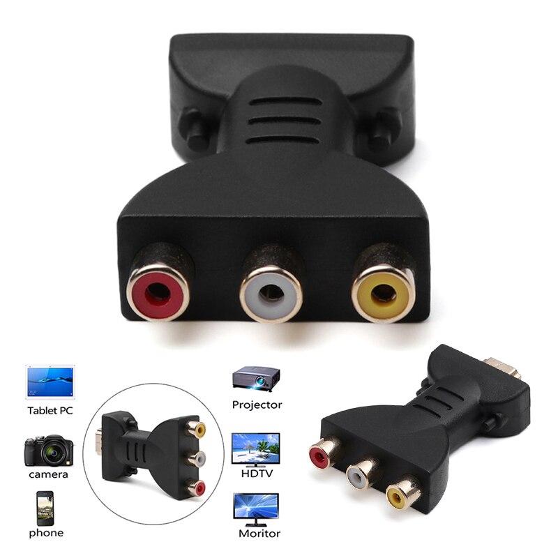 AV цифровой сигнал 1080p HDMI к VGA адаптер папа к 3 RCA аудио видео кабель RGB разница в цвете компонентный разъем Кабели DVI      АлиЭкспресс