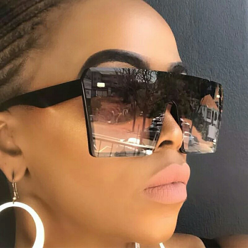 2020 Fashion Oversized Square Sunglasses Retro Gradient Big Frame Sun Glasses For  Women One Piece Gafas Shade Mirror Clear Lens