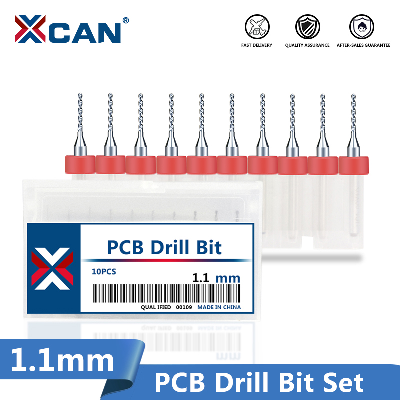 XCAN 10pcs 1.1mm PCB Print Circuit Board Carbide Micro Drill Bits 3.175mm Shank PCB Drill Bit Set