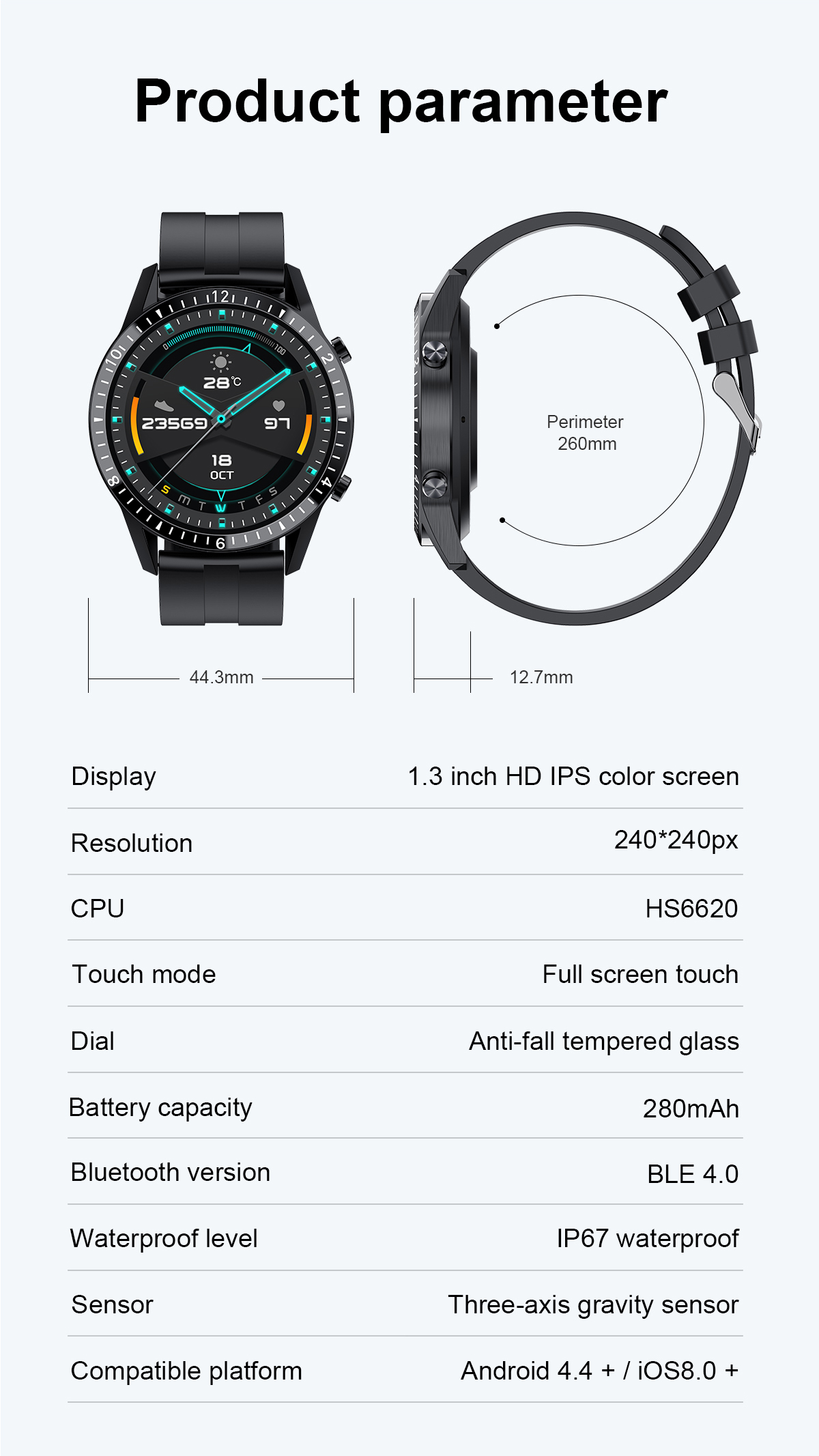 prova dip67 água conexão bluetooth para android ios smartwatch masculino